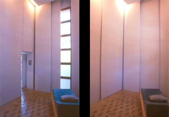 Figure 10: Work and consultation room: two views showing the different lighting effects that can be   achieved by moving the sliding wall panels.