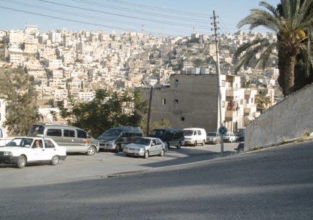 End of Abu Bakr al-Siddiq Street (Rainbow Street) with a view towards Ashrafia. (Jumana Bississo)