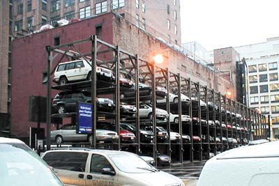 A stacked parking structure in New York City. (The Jordan Times)