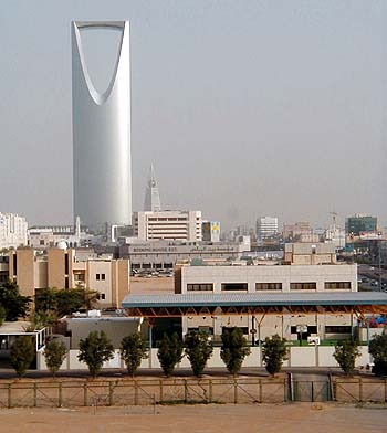 Riyadh's most recently constructed high-rise buildings: The Kingdom Center in the foreground and Al Faysaliyya in the background. (Mohammad al-Asad)