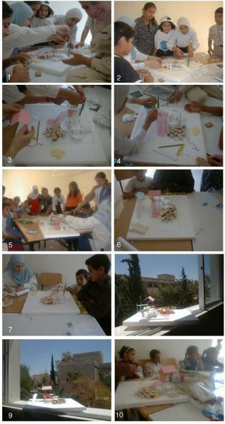 Figure 10: Sequence of photographs that shows the  children constructing a model of the play structure they designed.