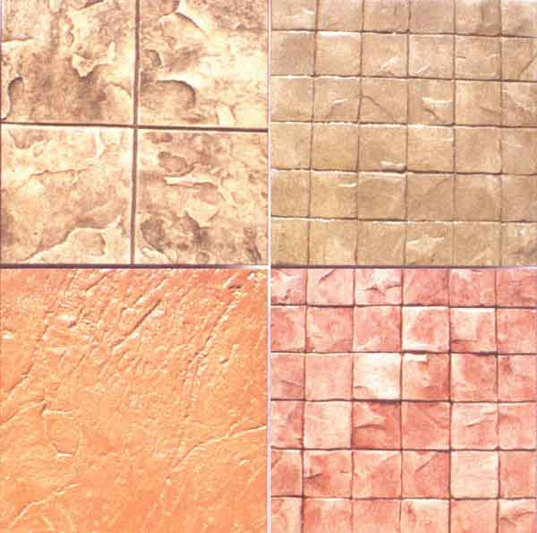 Cast-in-place concrete surfaces can be made to resemble other paving materials such as stone or brick.