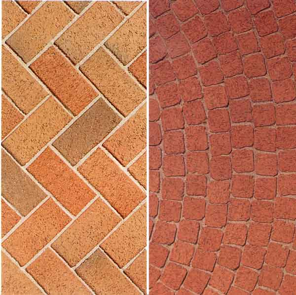 Brick tiles offer considerable flexibility in layout because of the small size of the individual units.