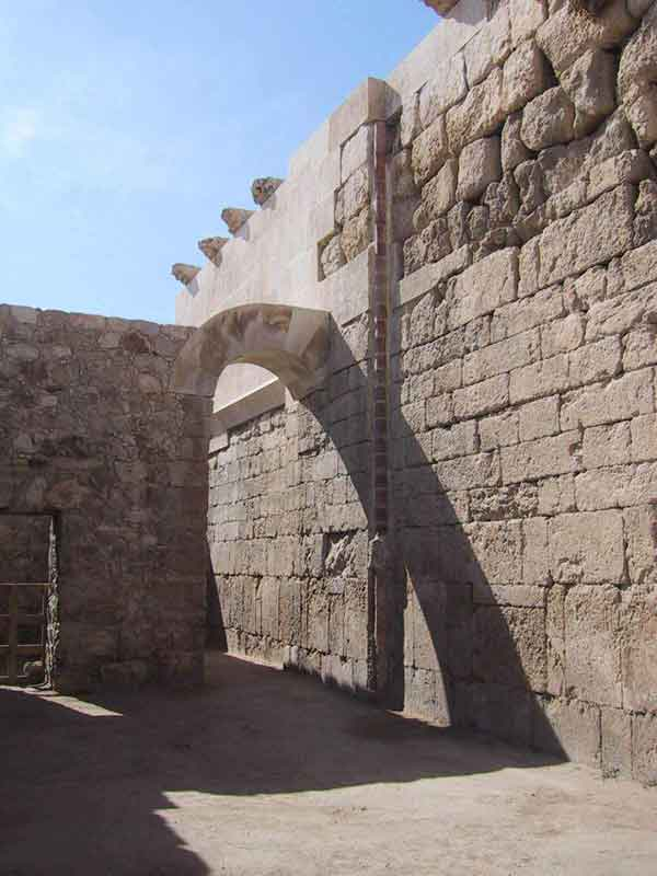 Historical example of water harvesting at the Amman Citadel. Down pipe collecting rain water from roof has been restored, and is once again functioning as part of the rain water harvesting system at the citadel. (image credit: Dalia al-Husseini)