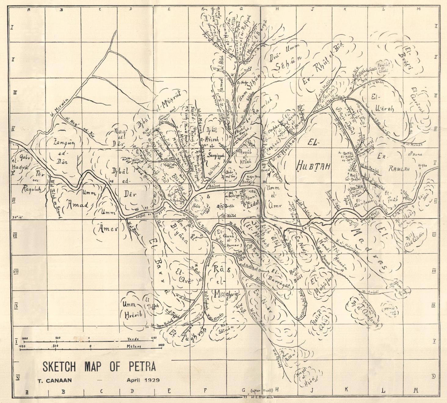 Sketch Map of Petra - خارطة مبدئية للبتراء