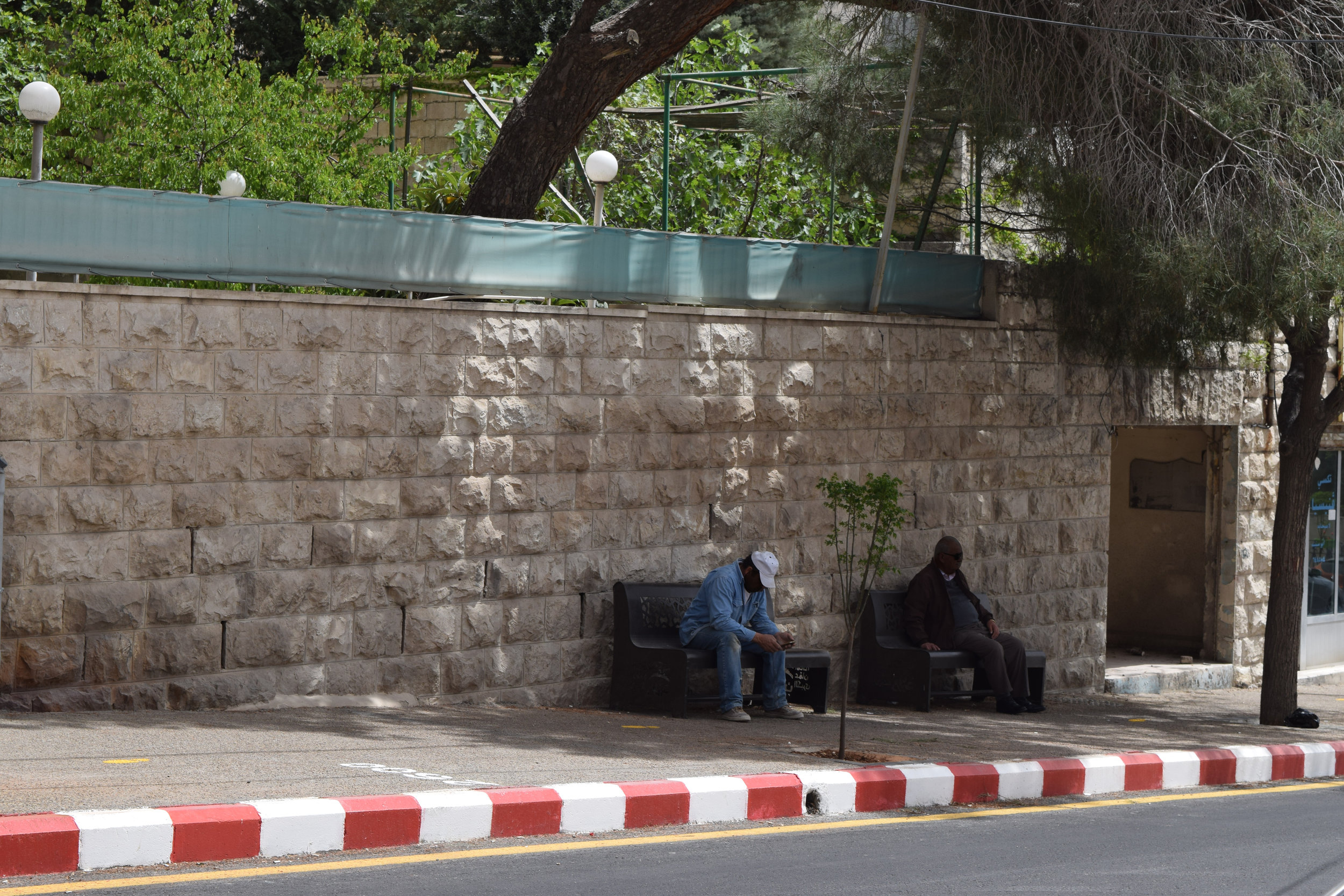 People using the newly-added benches.