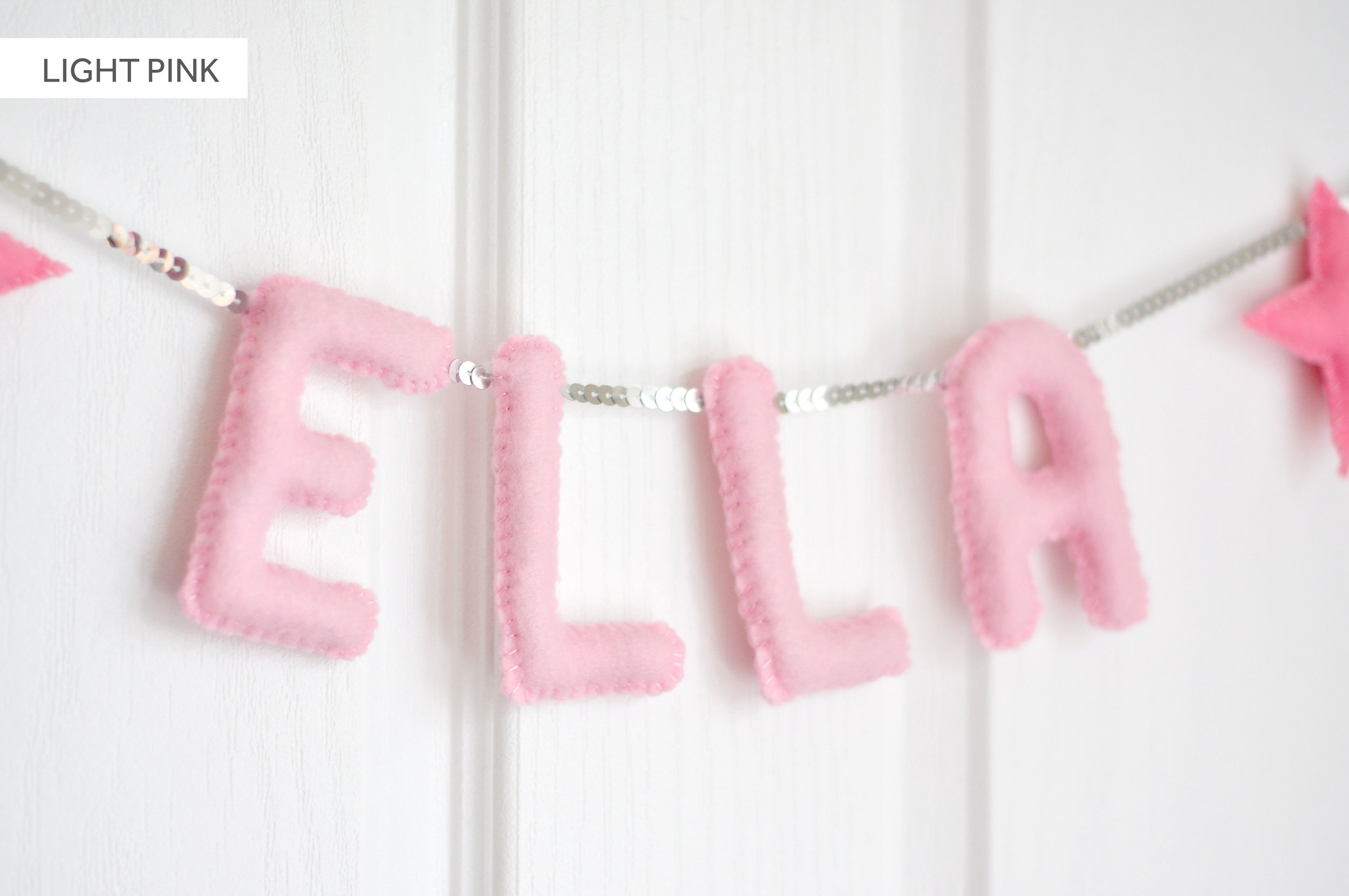 LIGHT PINK BABY NAME BUNTING