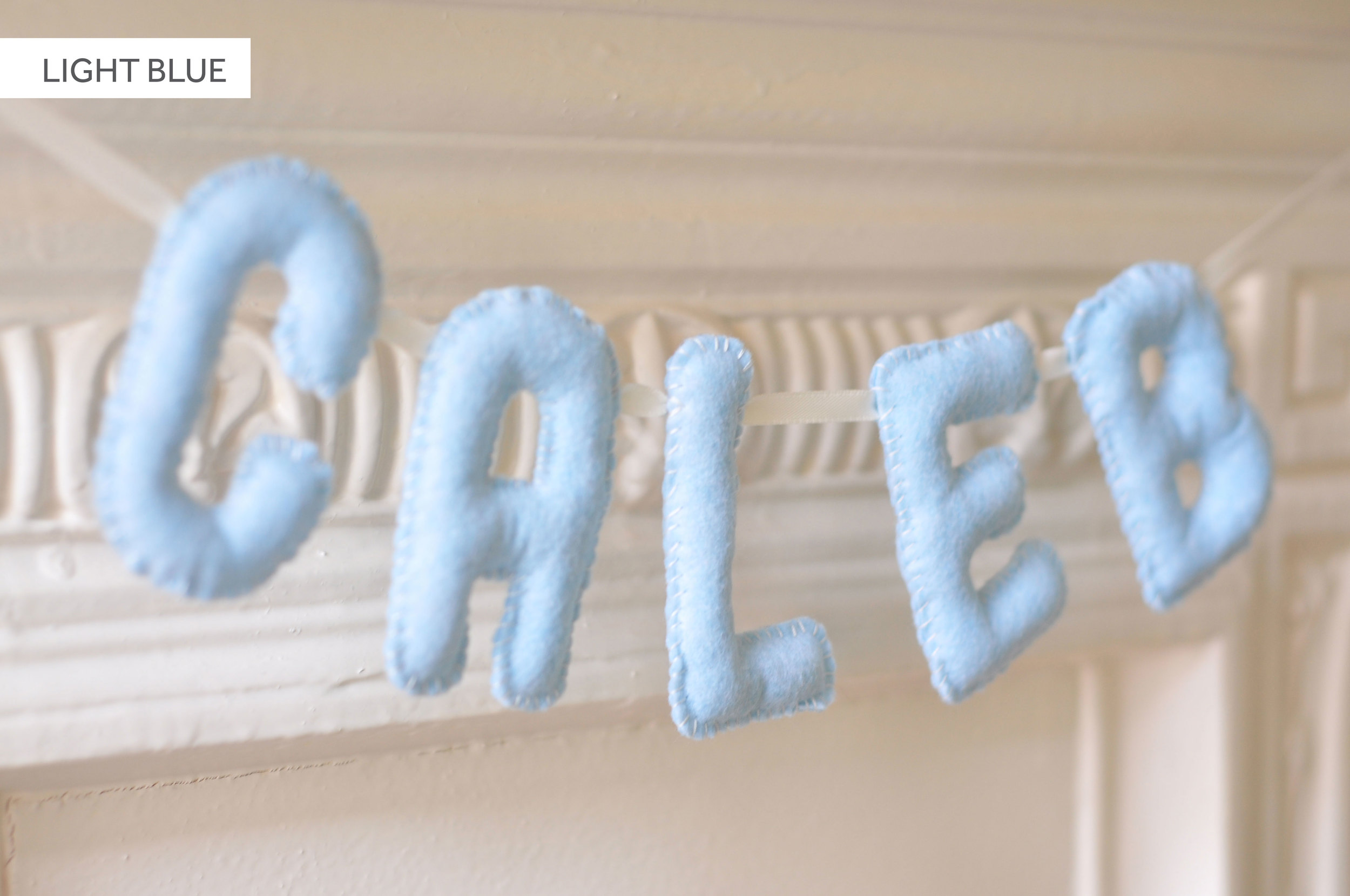 LIGHT BLUE BABY NAME BUNTING