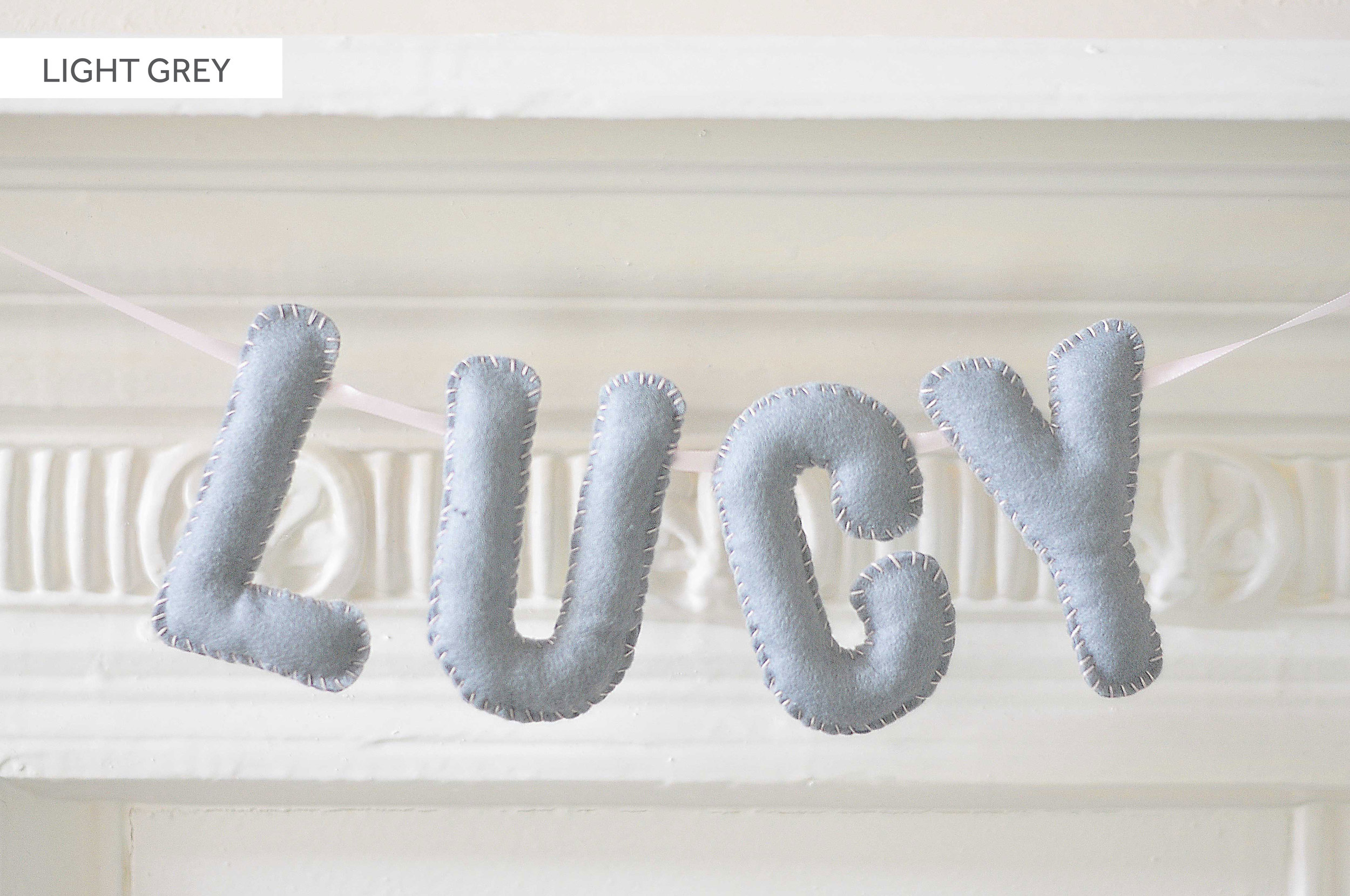 LIGHT GREY BABY NAME BUNTING