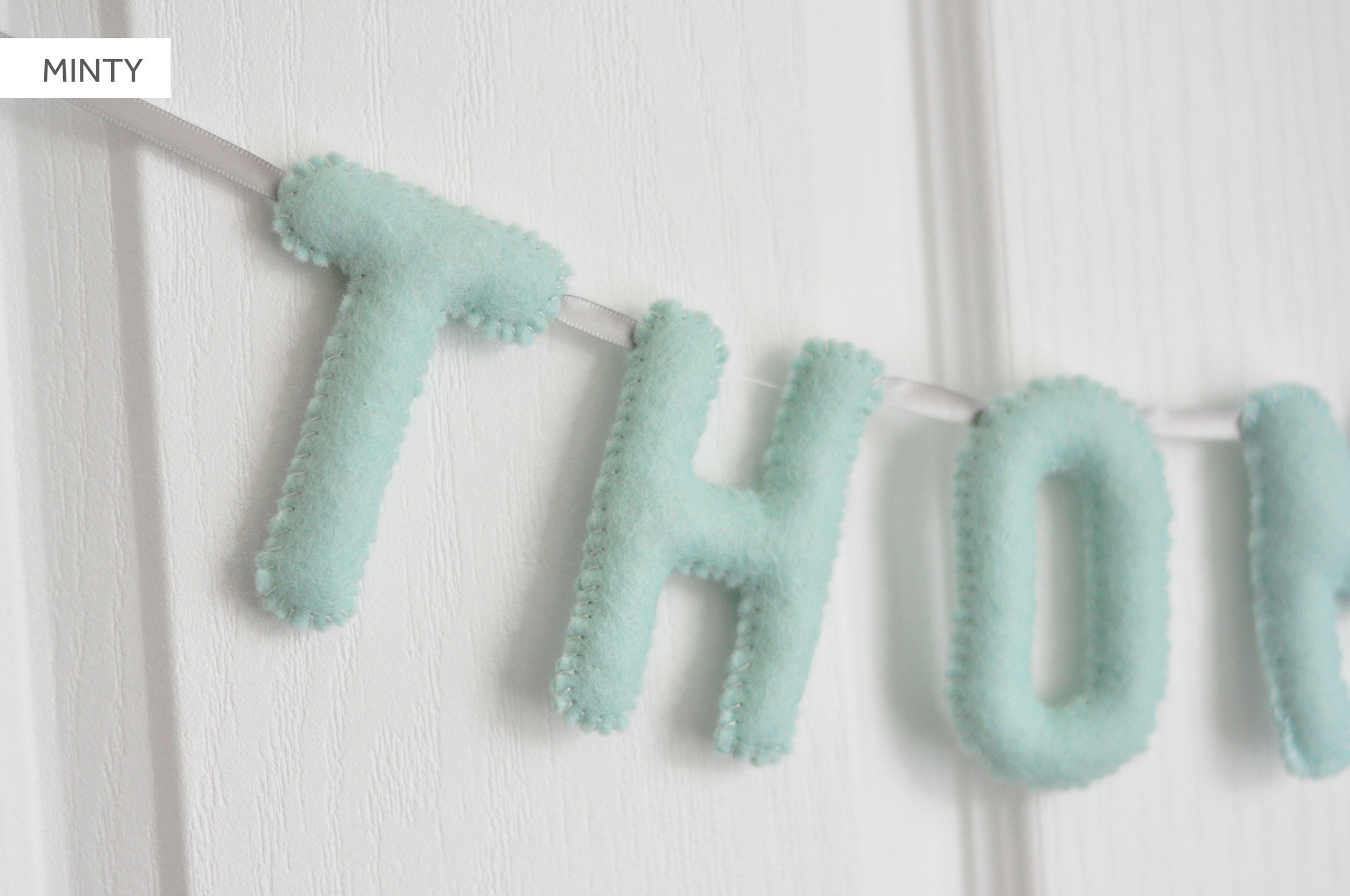 MINTY BABY NAME BUNTING