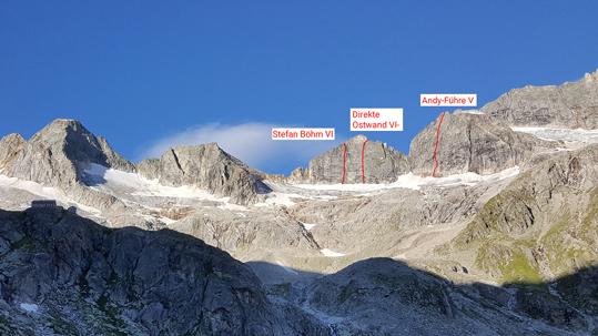 """Überblick der wichtigsten Alpinkletter-Routen im """"Hinterhof"""" der Richterhütte"""