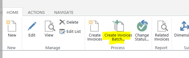 Select Create Invoices Batch