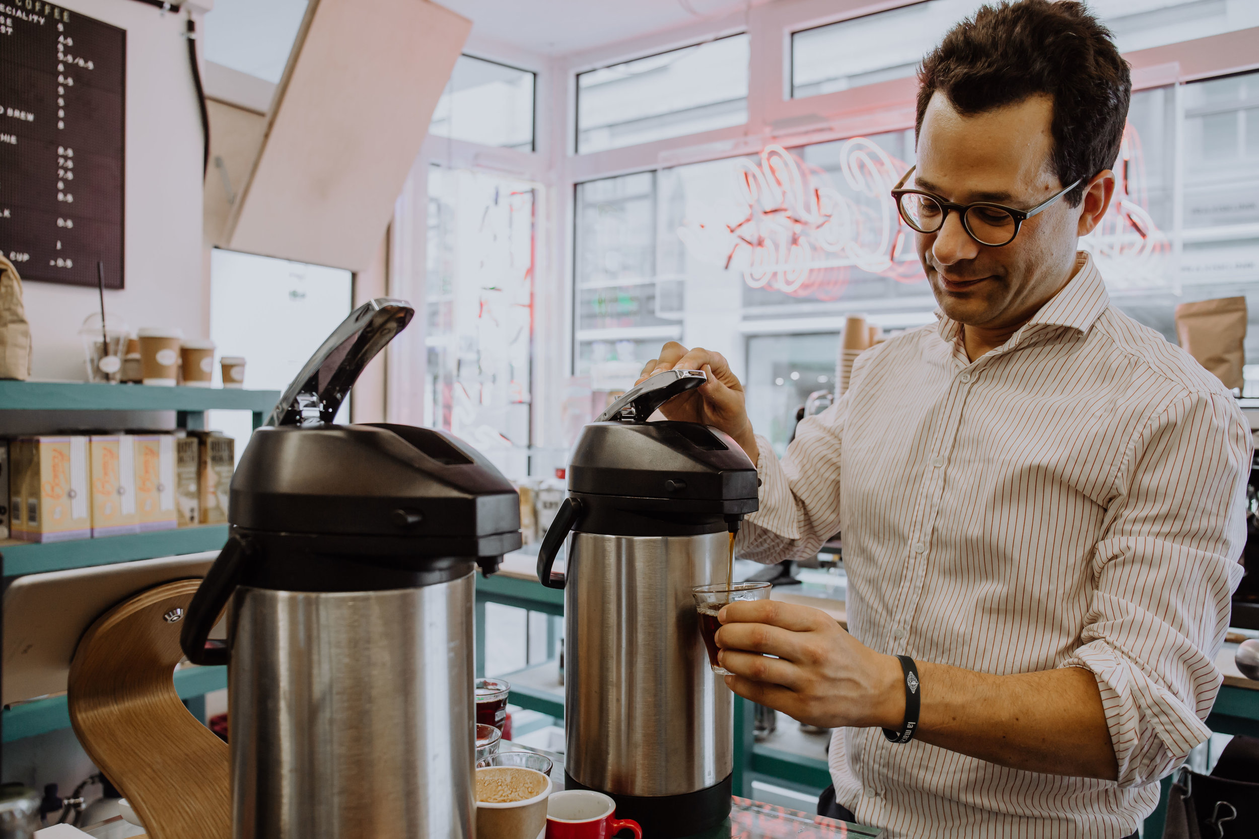 David, the owner of  Just Coffee  in Zurich, is a batch brew enthusiast.