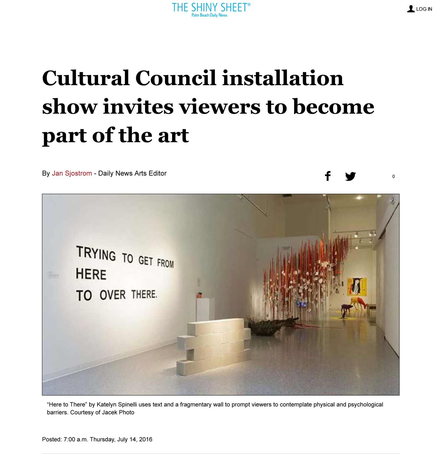 Group exhibition review - 2016, Palm Beach Daily News