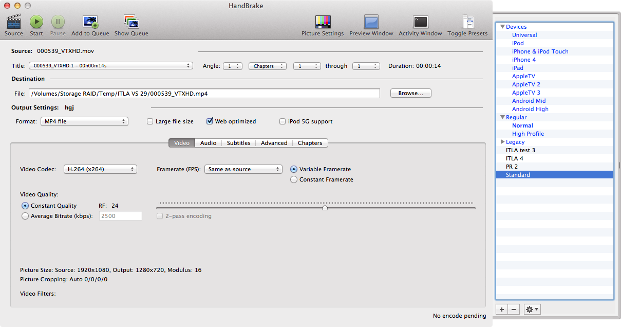 Screenshot of the Handbrake interface