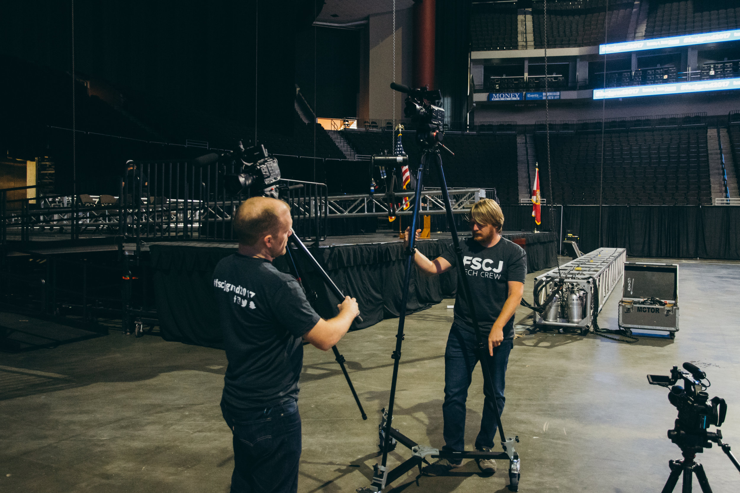 Michael and Mark begin setting up cameras.