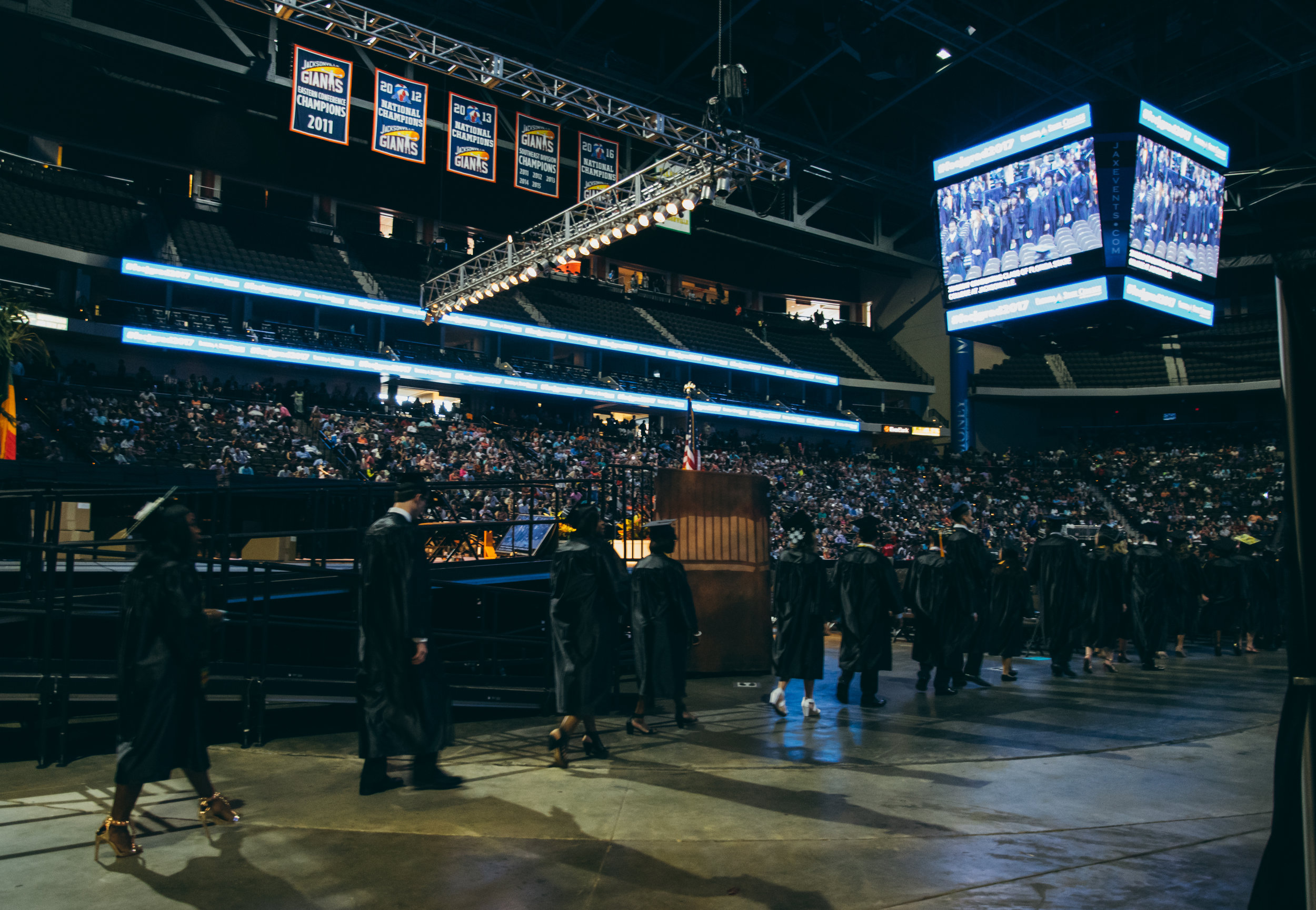 The graduates begin to enter the arena!