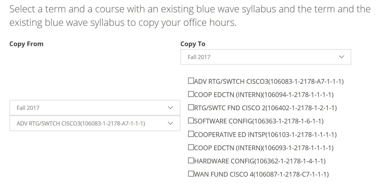 New feature: option to copy office hours between syllabus
