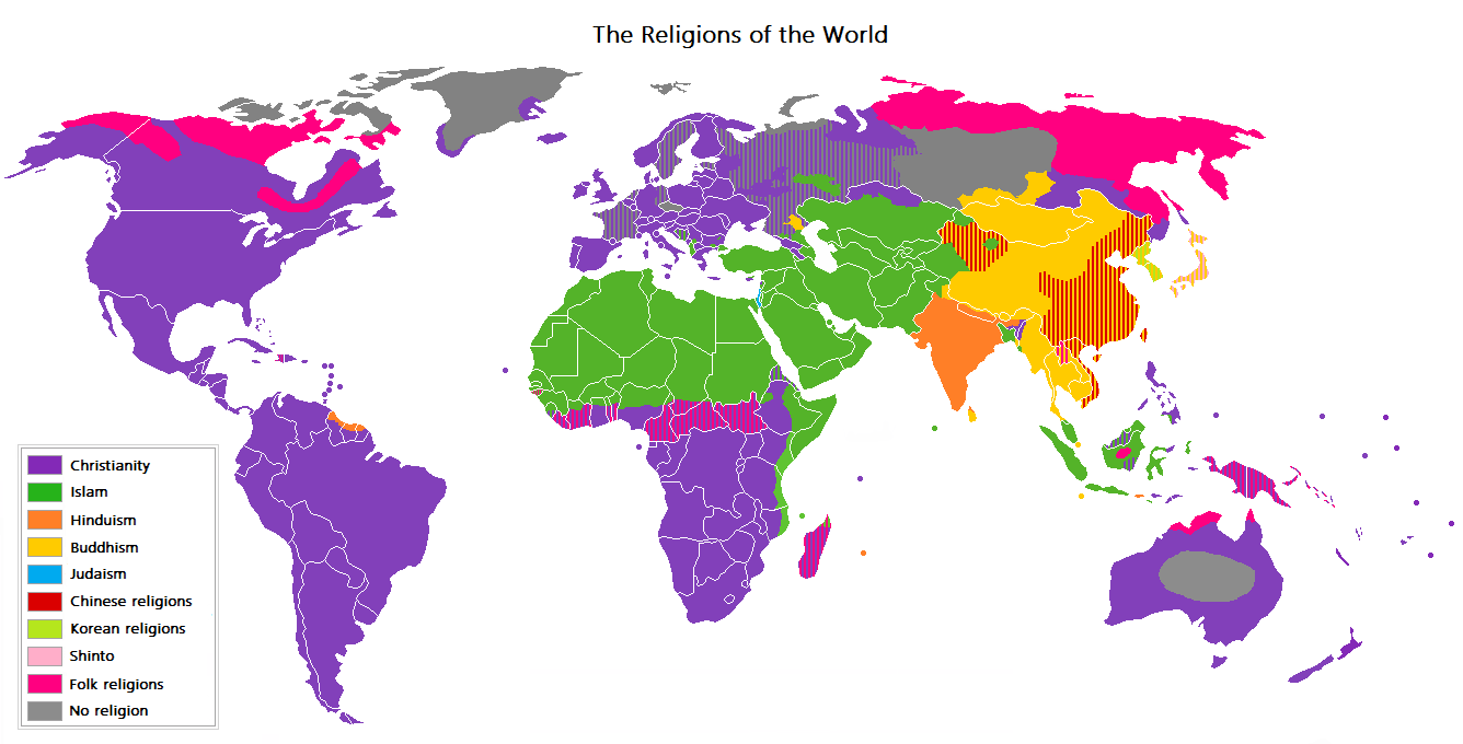 Map showing geographic distribution of religions.