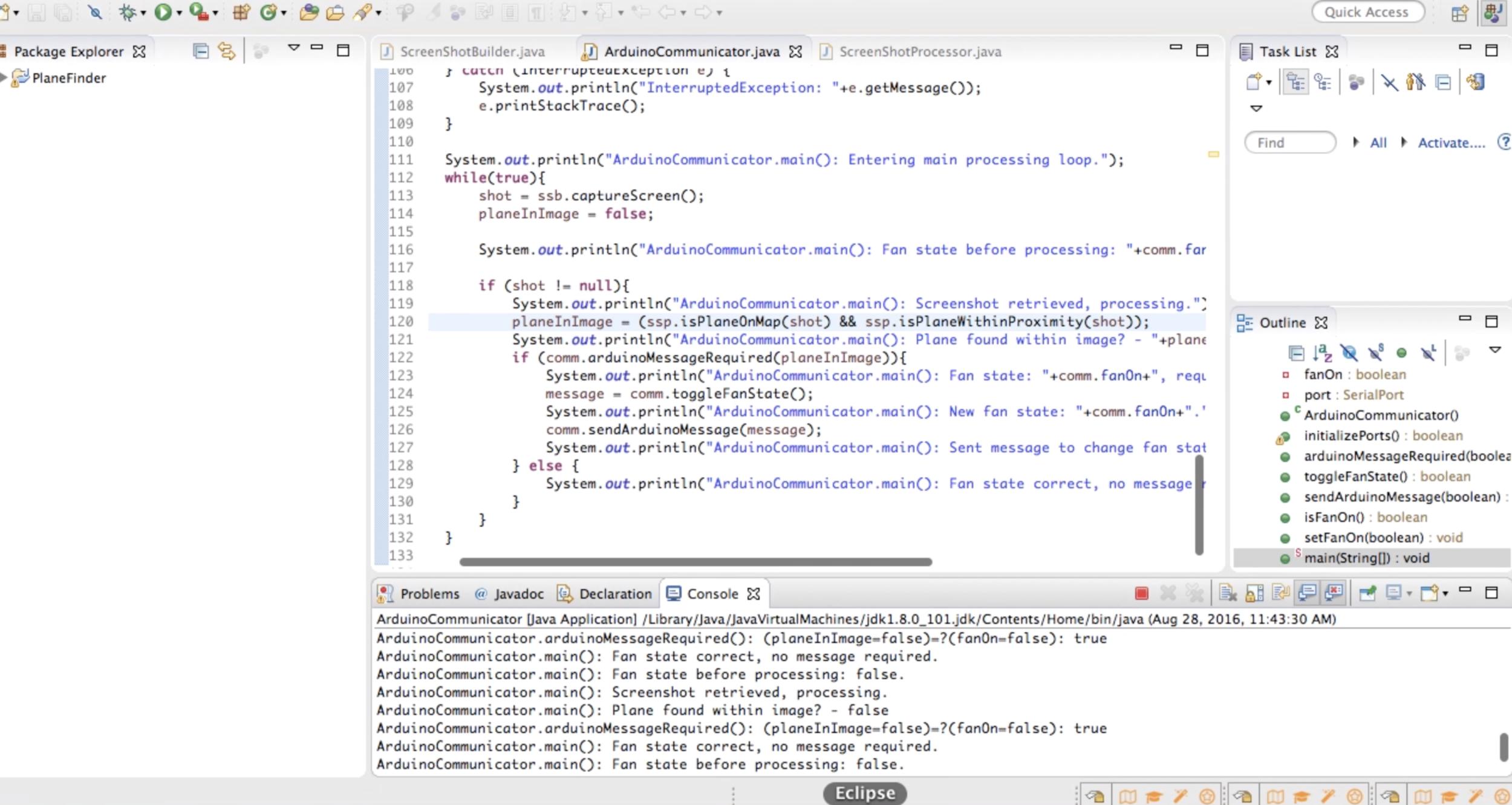 Screenshot of JavaScript and Eclipse triggering Arduino based off of Flightradar24.com
