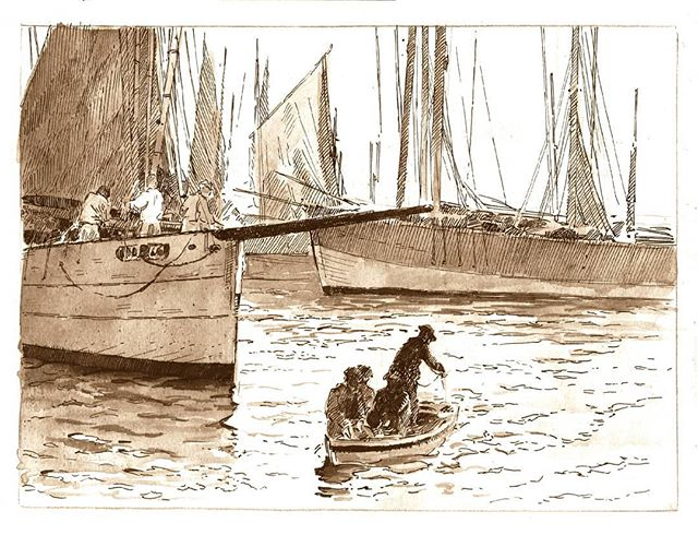 Sketchbook page, fishermen of Bretagne  #ink #inktober2018 #sketchbook #drawing #ship #maritime #Bretagne #history