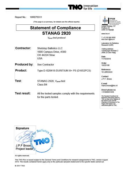 Duritium III+PS NATO STANAG Ballistic Lab Report