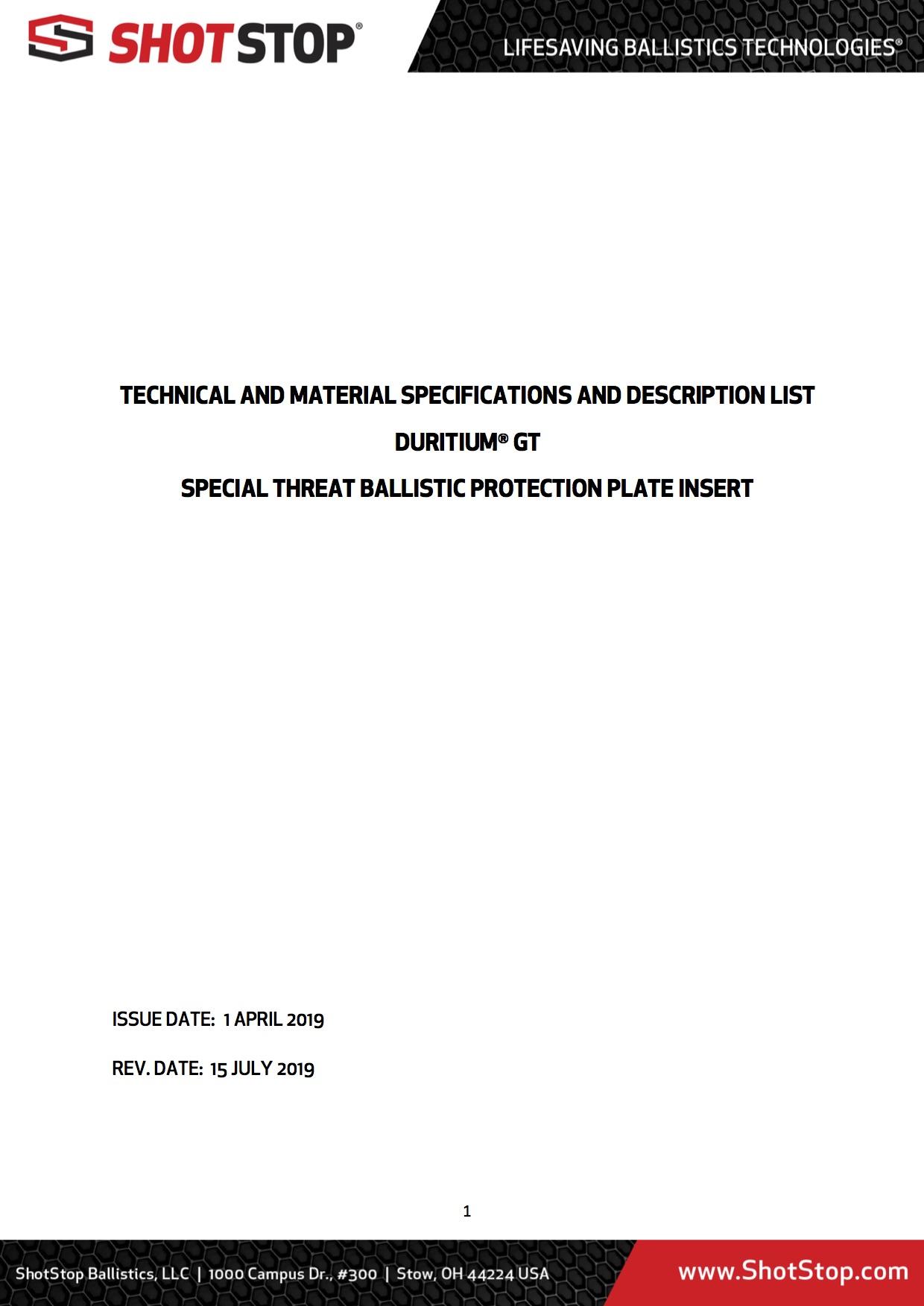 Duritium GT Product Technical Design Report