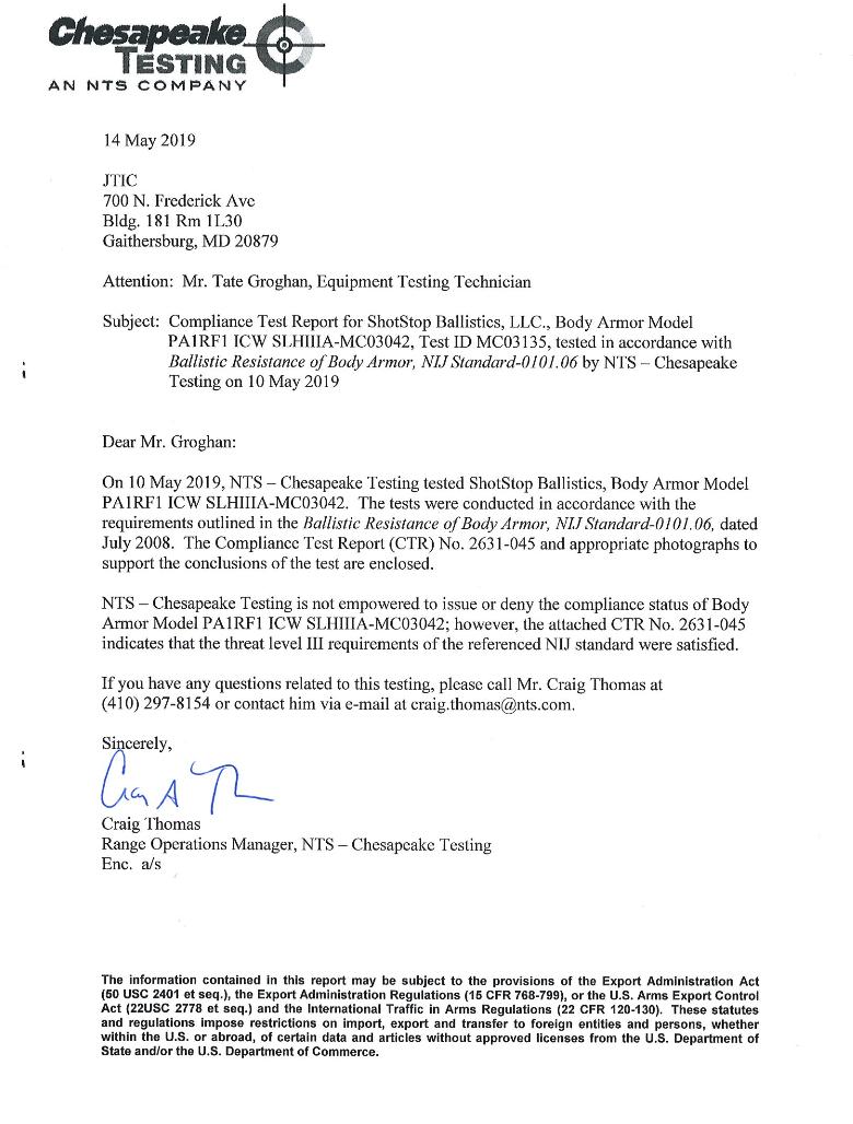 U.S. NIJ Compliance Test Report Letter