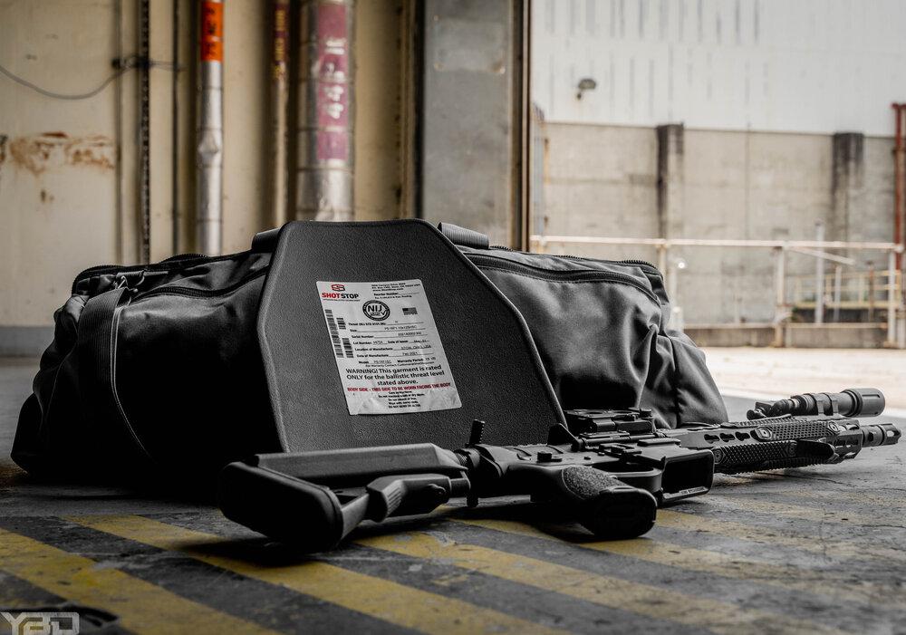 SS armor plate with duffle bag.JPG