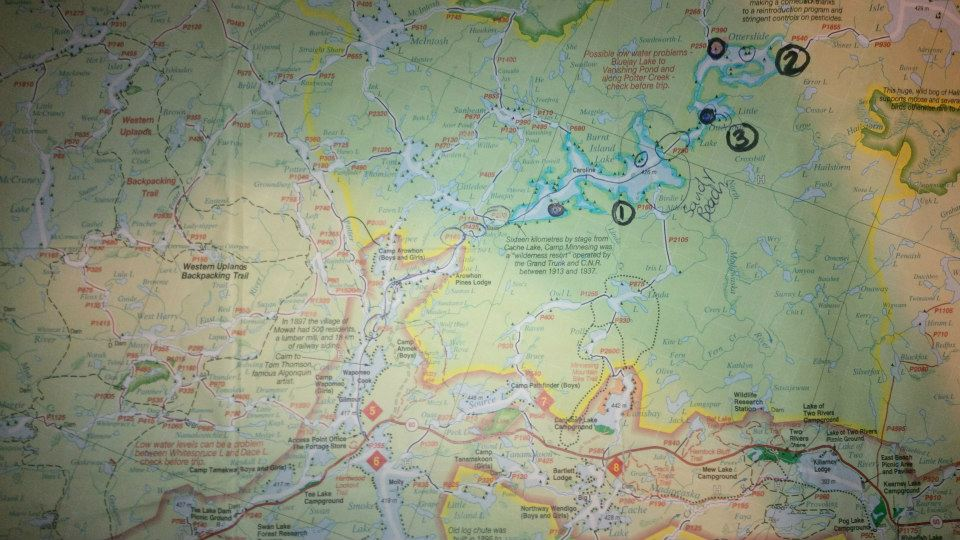 Map showing the campsites we stayed on each night