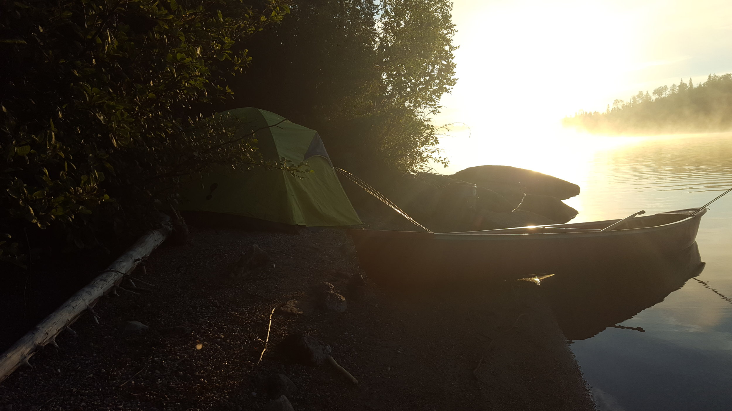 Camping on a mini beach