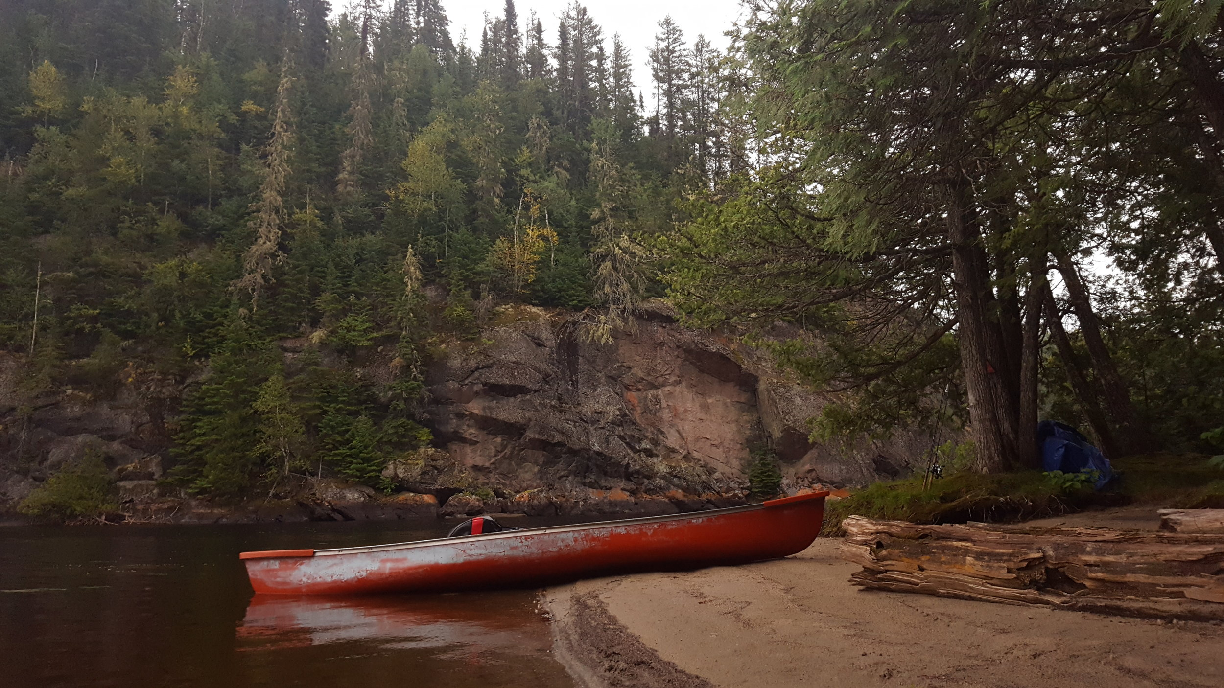 Camp 5 - Beach site next to a cliff face on the Steel River