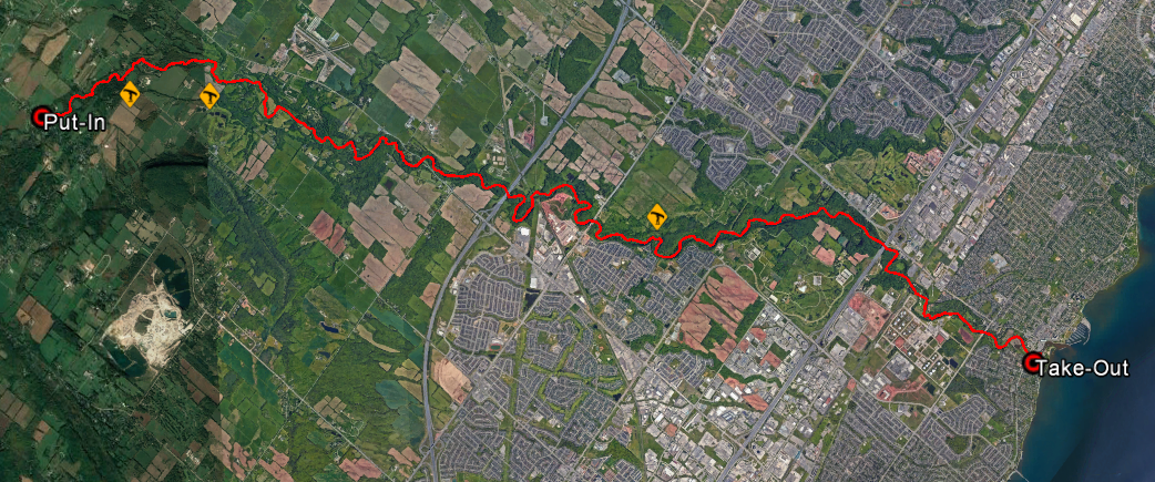 Route on Bronte Creek from Lowville Park to Lake Ontario