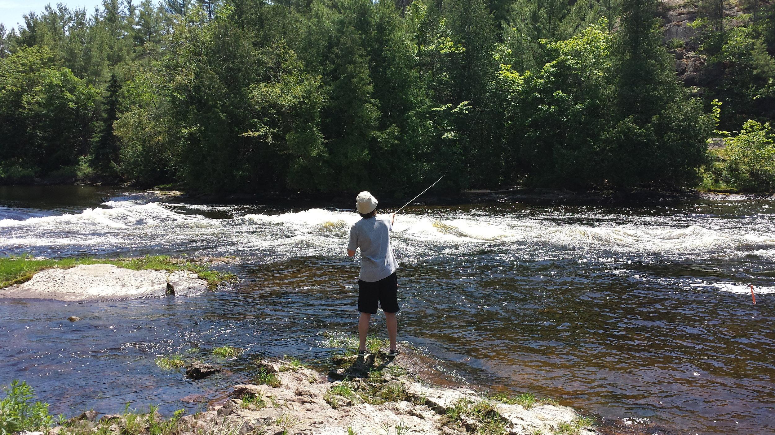 Graeme fishing along the French River