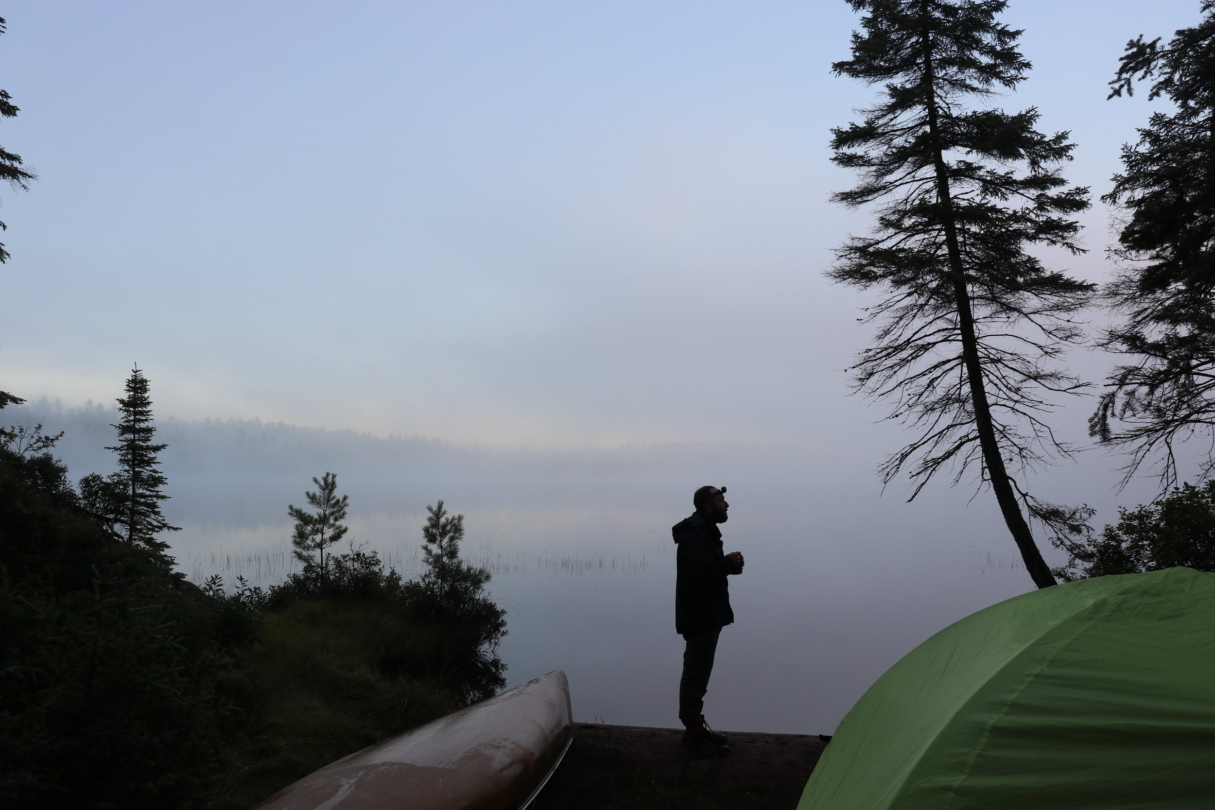 Camping at the end of the 5km portage going into Bonfield Lake