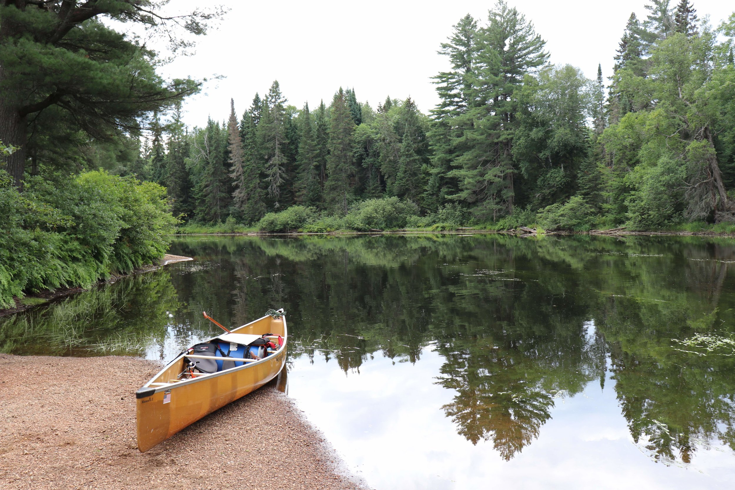 Arriving at the Oxtongue River just after the Tea Lake Dam portage