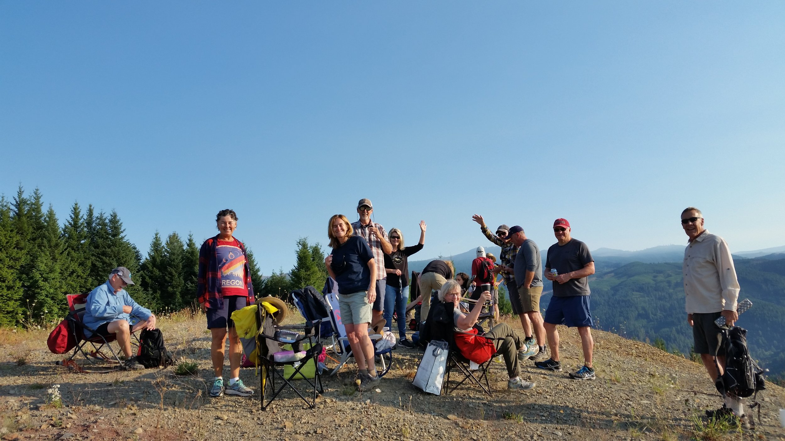 Our gang at viewing knoll outside Mill City