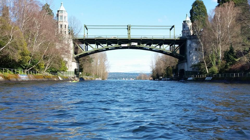 Montlake Bridge looking west from Portage Bay to Lake Washington and the Cascades
