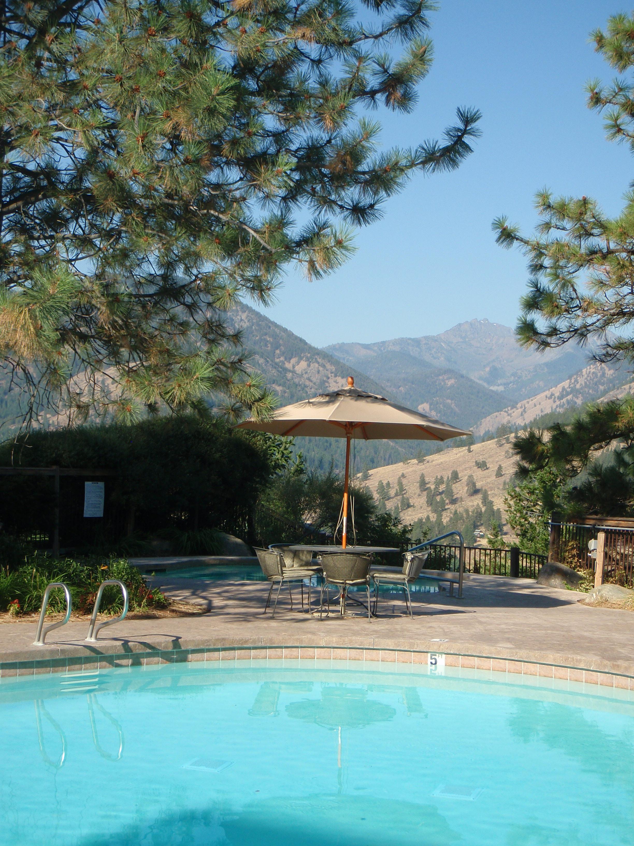 Pool view at Sun Mountain Lodge, WA