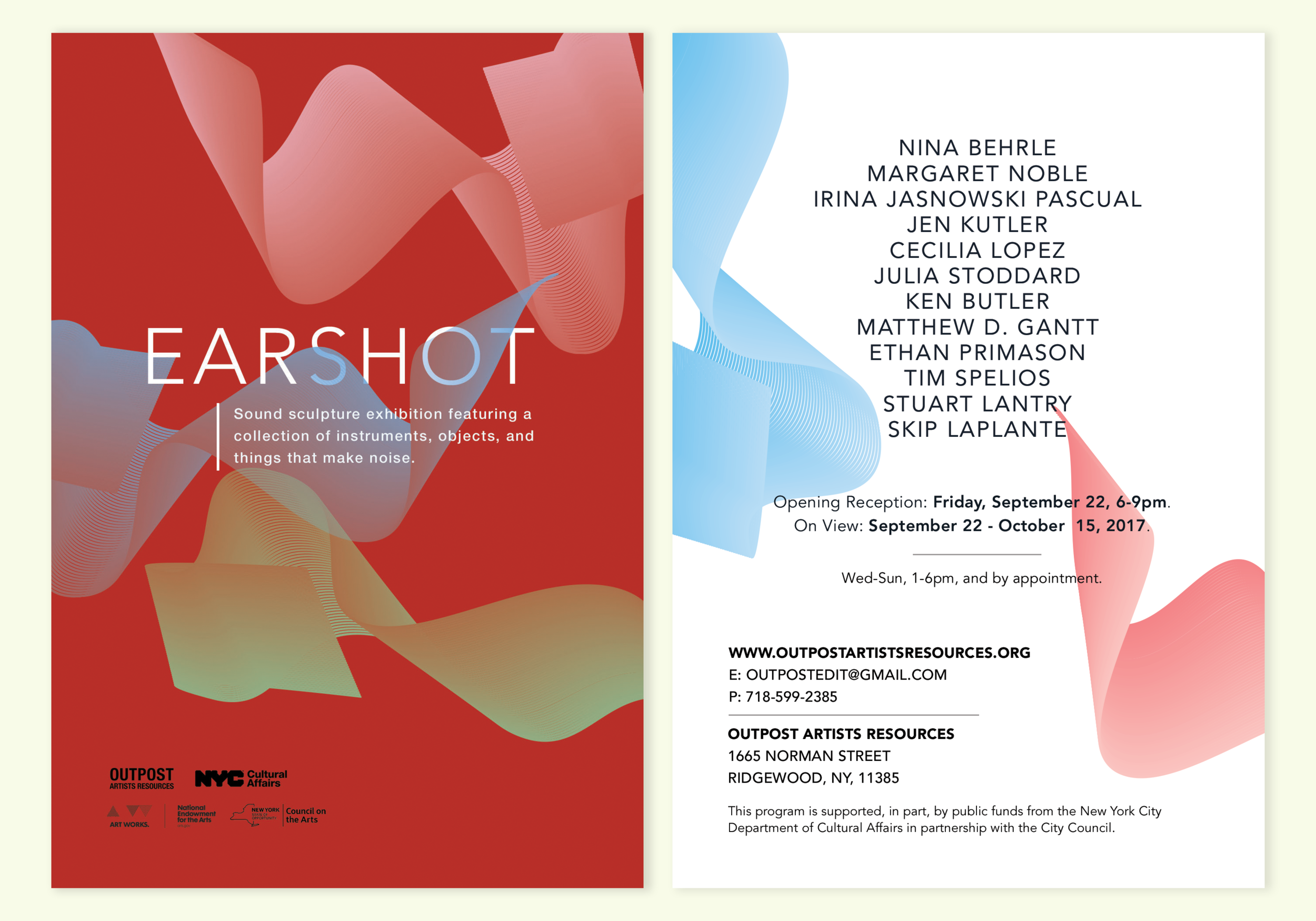 Printed Event Postcard for Outpost Artist Resources, 2017.