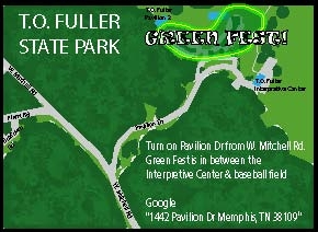 "Google ""1442 Pavilion Dr. Memphis, TN 38109"" Green Fest is in between the Interpretive Center and the baseball field."