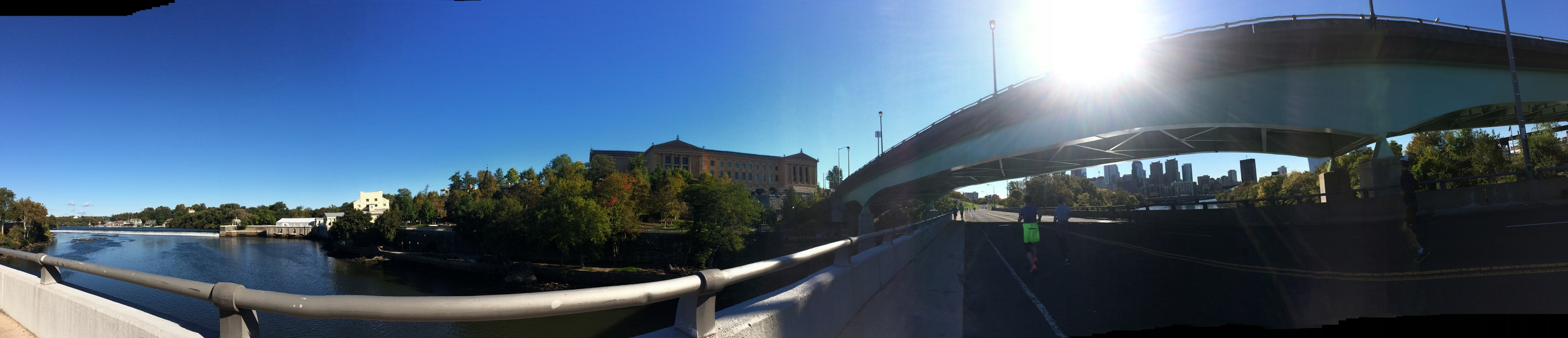 Panorama along the Schuykill River- (L toR) boat house row, the art museum, and Philly skyline