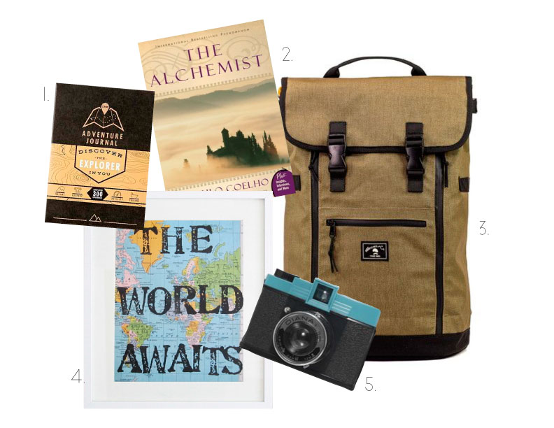 """Get ideas for adventures and document your travels in this (1.) Interactive Adventure Journal, $32.00 (Urban Outfitters). Read (2.) """"The Alchemist"""" by Paul Coelho, $16.99 (Barnes & Noble) for a story about an outward journey that leads to an inward journey. Pack up your (3.) Babylon backpack, $129 (wheelmencompany.com) with supplies for a weekend away or a year abroad. This (4.) OpusandVerse map art print, $18.50 (etsy.com) would look great on the wall of any """"wanderluster"""". Bring along this (5.) Diana camera, $49 (uncommongoods) to capture dreamy photos of your wanderings."""