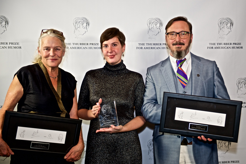 2018 Thurber Prize finalist Jenny Allen, winner Patricia Lockwood, and finalist John Hodgman