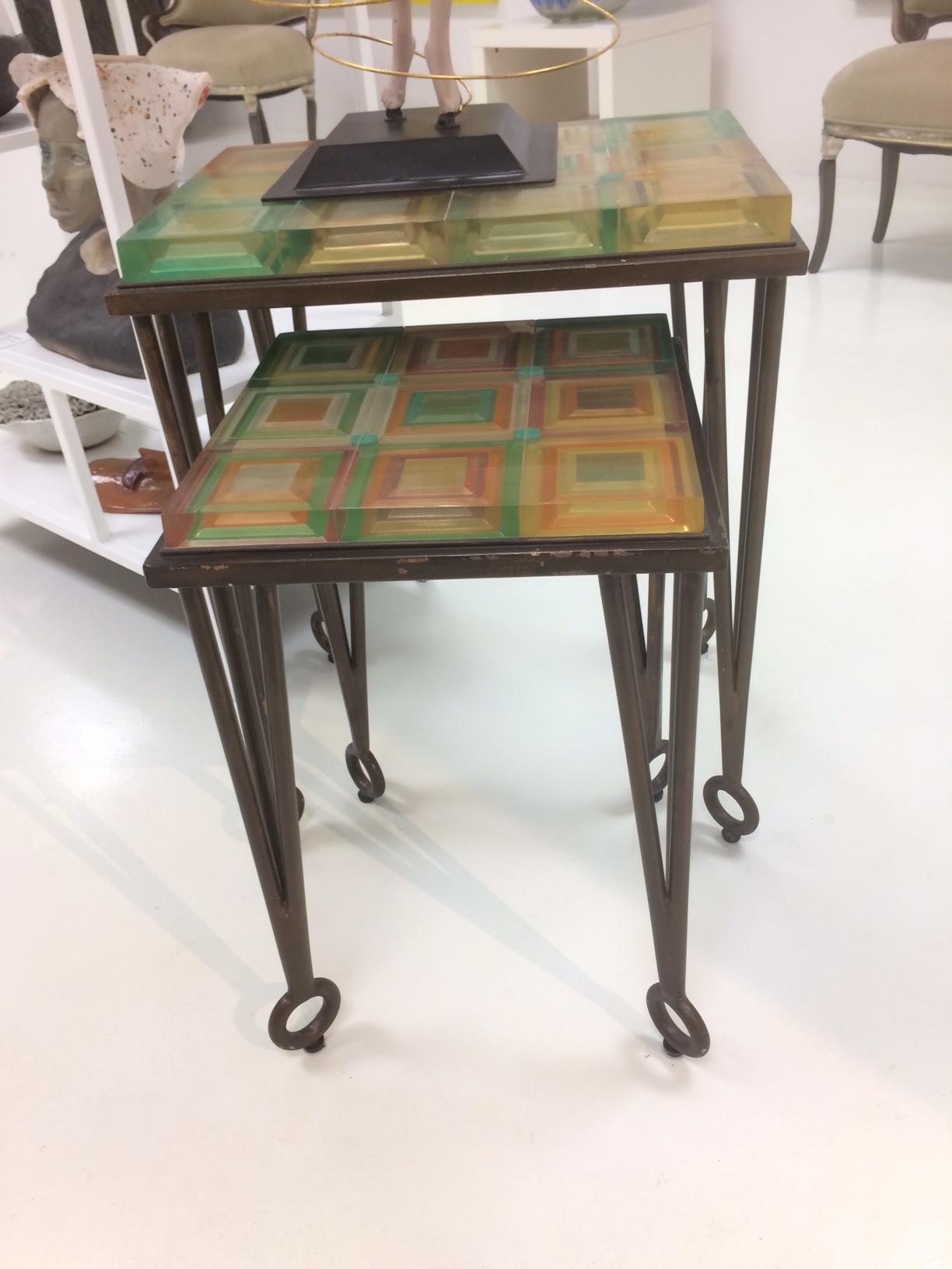 Vintage acrylic Nesting tables.JPG