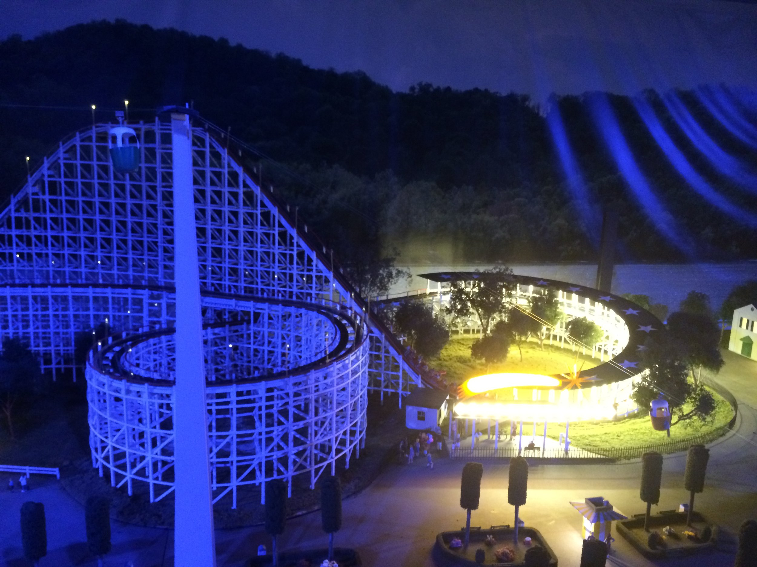 Night view of the station area. The lighting really makes the model come alive during the night cycle every 15 minutes.