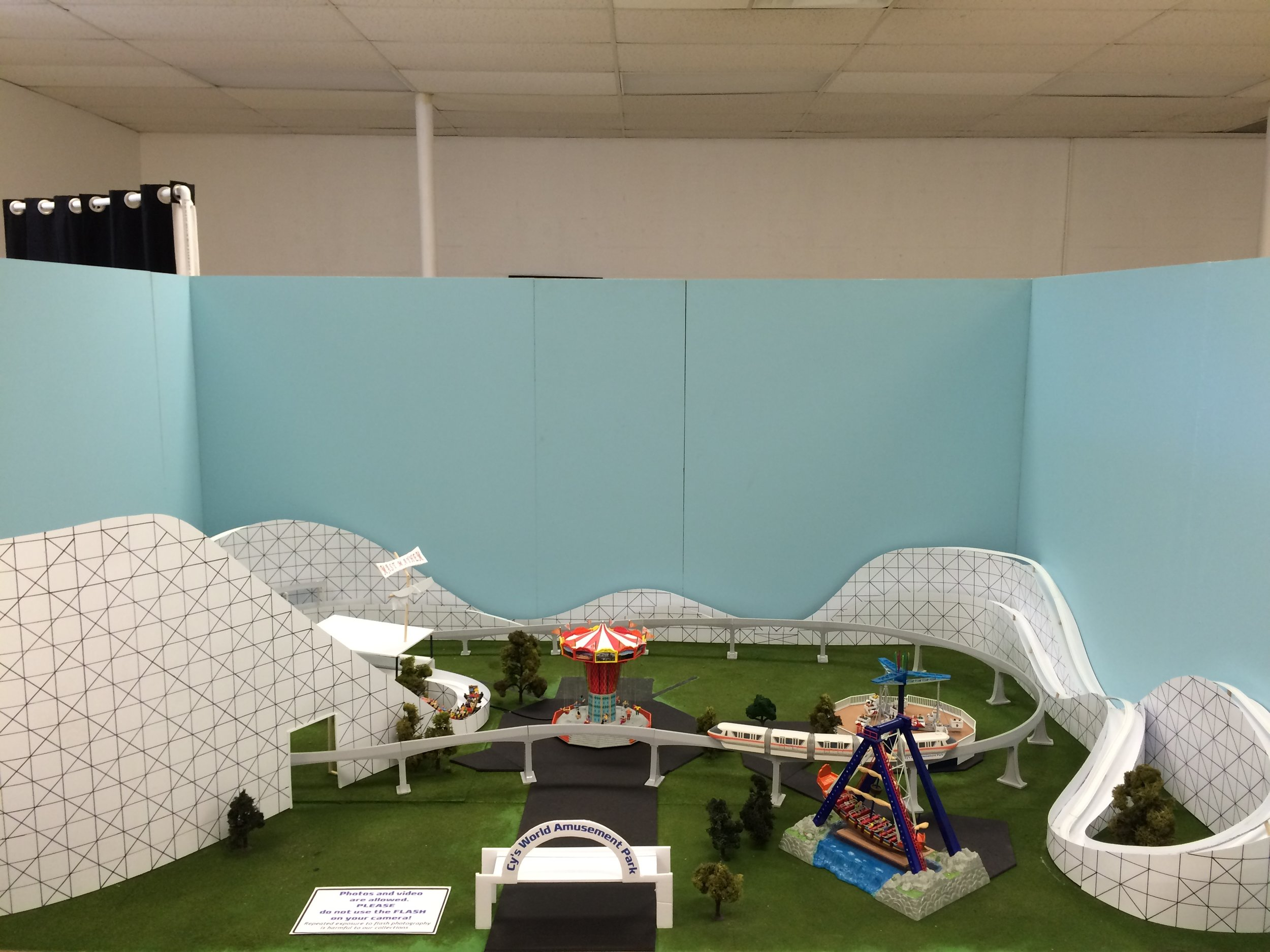 Exhibit: The Amusement Park (Cy's World) Cy's World as it originally appeared. The roller coaster was replaced about a month after opening with a more realistic looking structure.