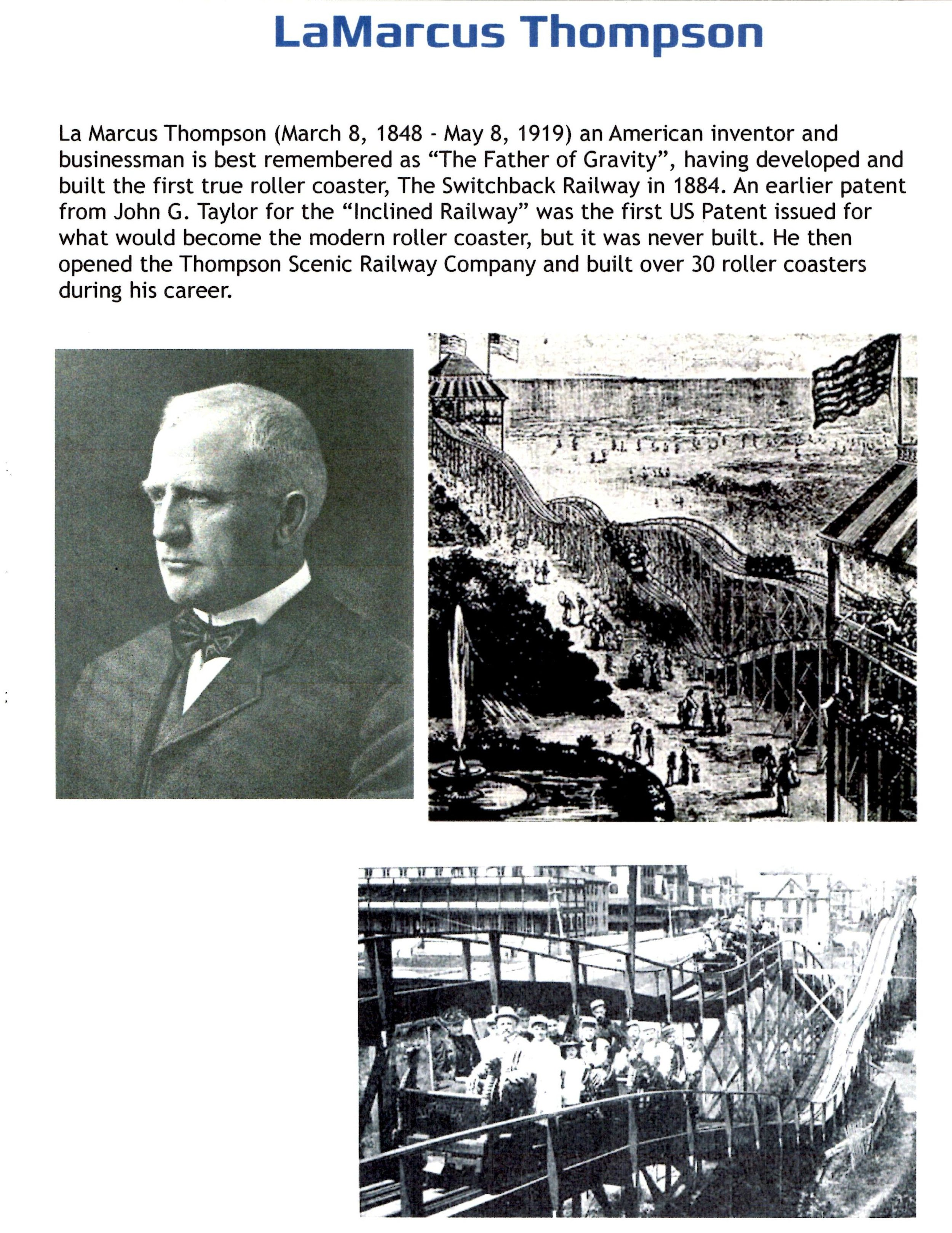 Exhibit: Early Roller Coasters - LaMarcus Thompson and the Swithback Railway