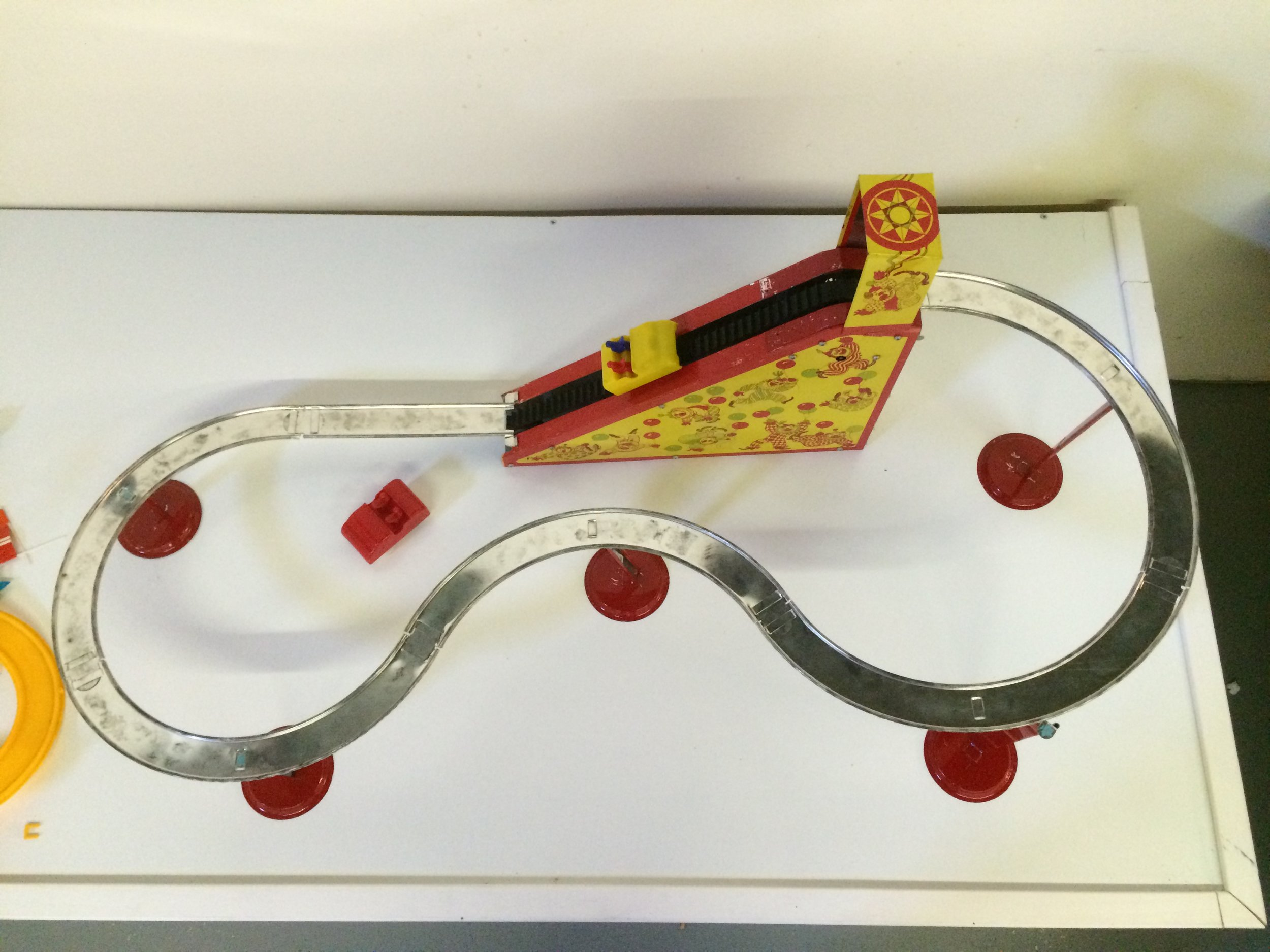 Exhibit: Playtime: Roller Coaster Toy Gallery - Sky-Ride Roller Coaster (wind up lift mechanism) c. 1940