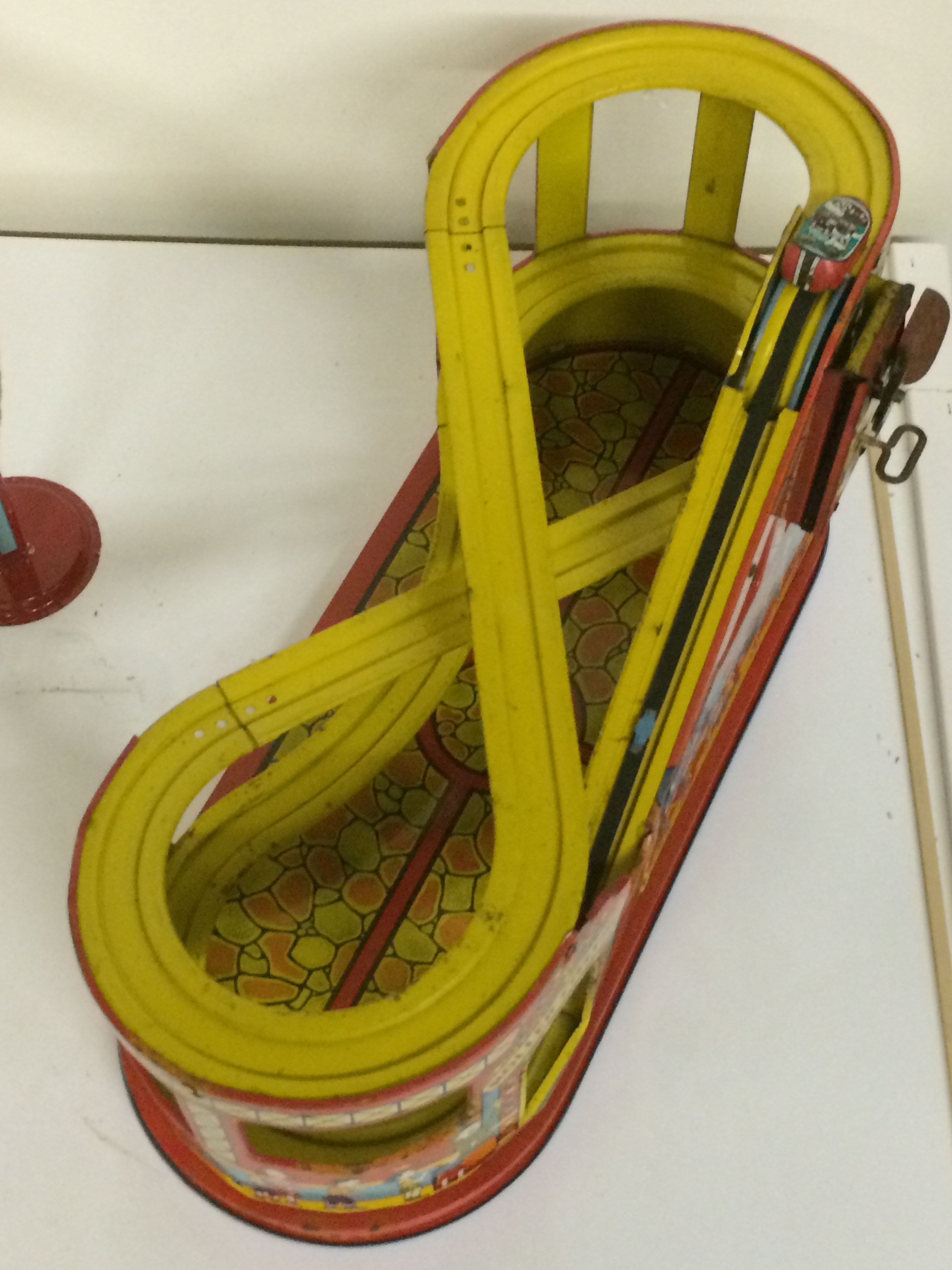 Exhibit: Playtime: Roller Coaster Toy Gallery - Chein Wind Up lift mechanism Roller Coaster c. 1960's